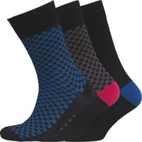Fox & King Mens Patterned Three Pack Socks BK001
