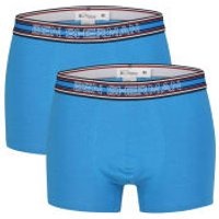 Ben Sherman Mens 2-Pack Boxers - Blue, Navy and Red Stripe - S