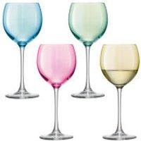 LSA Polka Wine Glass Pastel - Assorted 4 x 400ml