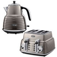 DeLonghi Scultura 4 Slice Toaster and Kettle Bundle - Champagne Gloss