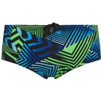 Zoggs Mens Optic Sport Swim Briefs - Black/Green/Blue - W28