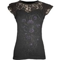 Spiral Womens ENTWINED Lace Layered Cap Sleeve Top - Black - M