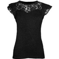 Spiral Womens GOTHIC ELEGANCE Lace Layered Cap Sleeve Top - Black - XL - Black