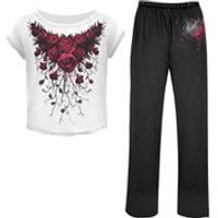Spiral Womens BLOOD ROSE 4 Piece Gothic Pyjama Set - M