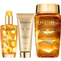 Krastase Elixir Ultime Huile Lavante Bain 250ml, Elixir Ultime Fondant Conditioner 200ml and Original Hair Oil 100ml Bundle