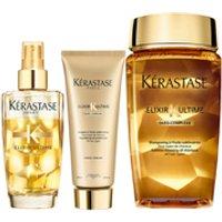 Krastase Elixir Ultime Huile Lavante Bain 250ml, Elixir Ultime Fondant Conditioner 200ml and Fine Hair Oil 100ml Bundle