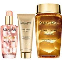 Krastase Elixir Ultime Huile Lavante Bain 250ml, Fondant Conditioner 200ml and Coloured Hair Oil 100ml Bundle