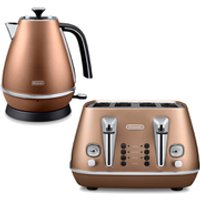 DeLonghi Distinta 4 Slice Toaster and Kettle Bundle - Copper Finish