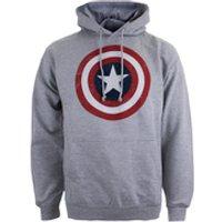 Marvel Mens Captain America Sheild Hoody - Light Grey Marl - S