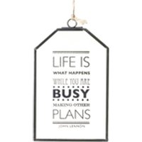 Parlane Life Is What Happens Glass Hanging Sign - Clear (15 x 10cm)