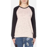 OBEY Clothing Womens Jackson Raglan Long Sleeve Top - Peach/Heather Black - S