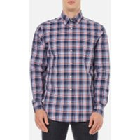 GANT Mens Dobby Plaid Shirt - Yale Blue - M