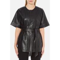Gestuz Womens Sash Leather Kimono - Black - XS/S