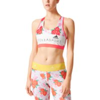 adidas Womens Stellasport Printed Gym Bra - White/Pink - L/UK 16-18