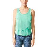 adidas Womens Stellasport Climacool Aeroknit Gym Tank Top - Green - M/UK12-14