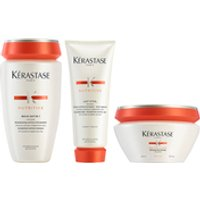 Krastase Nutritive Bain Satin 1 250ml, Nutritive Lait Vital and Masquintense Cheveux Fins For Thin Hair 200ml