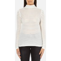 Karl Lagerfeld Womens Stripes Sheer & Solid Sweater - White - XS
