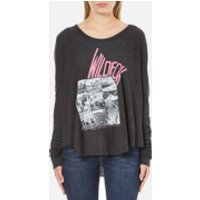 Wildfox Womens Wildfox Ca Perry Thermal Long Sleeve Top - Clean Black - S - Black