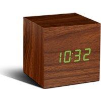 Gingko Cube Walnut Click LED Clock - Green