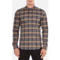 Pretty Green Mens Rennie Long Sleeve Check Shirt - Navy - XXL