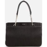 DKNY Womens Gansevoort Pinstripe Quilted Shopper Tote Bag - Black