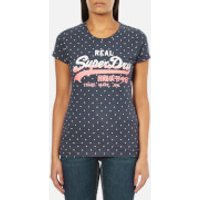 Superdry Womens Vintage Logo Over Dyed All Over Print T-Shirt - Overdyed Princeton Blue - S