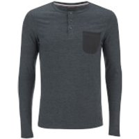 Produkt Mens Contrast Pocket Long Sleeve Top - Black Navy Melange - XL