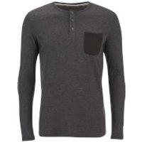 Produkt Mens Contrast Pocket Long Sleeve Top - Black Melange - M