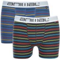 Animal Mens Allview 2 Pack Stripe Boxers - Multi - XL