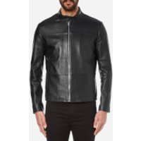 HUGO Mens Lefox Leather Jacket - Black - M