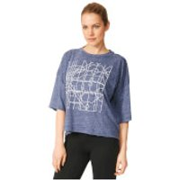 adidas Womens Over Sized Graphic Training T-Shirt - Navy - S
