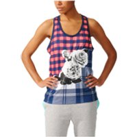 adidas Womens Stella Sport Cotton Training Tank Top - Blue/Pink - M