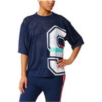 adidas Womens Stella Sport Mesh Training T-Shirt - Blue - S