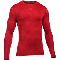 Under Armour Mens ColdGear Jacquard Crew Long Sleeve Shirt - Red/Graphite - L
