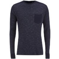 Brave Soul Mens Ween Interest Patch and Pocket Sweatshirt - Navy - M