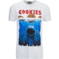 Cookie Monster Mens Shark Cookie Monster T-Shirt - White - XL