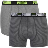 Puma Mens 2-Pack Striped Boxers - Charcoal/Light Grey - L
