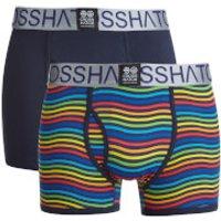 Crosshatch Mens Spectromic 2-Pack Boxers - Rainbow/Navy - S