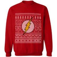DC Comics Mens The Flash Christmas Fairisle Sweatshirt - Red - XL