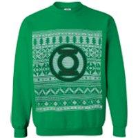 DC Comics Mens Green Lantern Christmas Fairisle Sweatshirt - Green - S