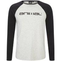 Animal Mens Action Raglan Long Sleeve Top - Light Grey Marl - M