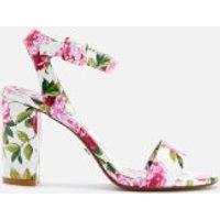 Dune Womens Marygold Peony Printed Patent Block Heeled Sandals - White - UK 5