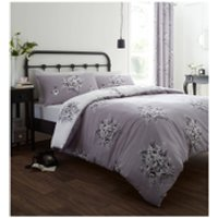Catherine Lansfield Floral Bouquet Bedding Set - Grey - Double