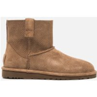 UGG Womens Classic Unlined Perforated Suede Mini Ankle Boots - Tawny - UK 4.5