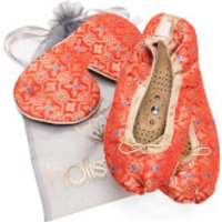 Holistic Silk Eye Mask Slipper Gift Set - Tibetan Orange - S