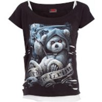 Spiral Womens Ted The Grim 2-in-1 Ripped Top - Black/White - L - Black/White