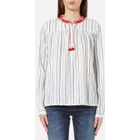 Maison Scotch Womens Drapey Woven Stripe Top with Embroidered Collar - Multi - UK 12/3 - Multi
