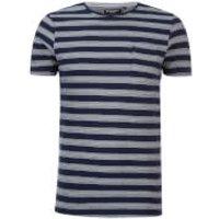 Brave Soul Mens Gravel Stripe T-Shirt - Navy/Ecru - XL