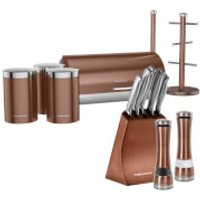 Morphy Richards Electronic Salt and Pepper Mill, 5 Piece Knife Block and 6 Piece Storage Set - Copper