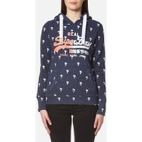 Superdry Womens Vintage Logo Ditsy Aop Hoody - Princeton Blue Marl - XS